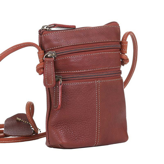 MOONLIGHT กระเป๋าสะพายหนังแท้รุ่น Memo สีน้ำตาลอ่อน