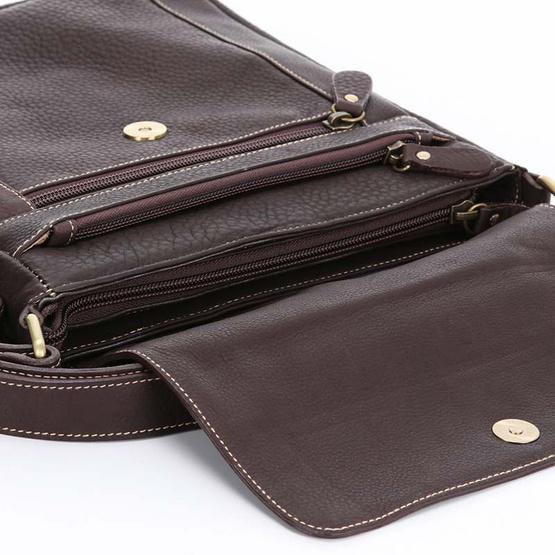 MOONLIGHT กระเป๋าหนังแท้สะพายข้าง รุ่น Vincent สีน้ำตาลเข้ม