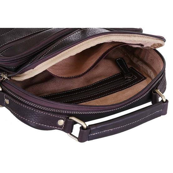 MOONLIGHT กระเป๋าหนังแท้ ทำจากหนังวัว หิ้วได้ สะพายได้ สำหรับผู้ชาย รุ่น Master สีน้ำตาลเข้ม