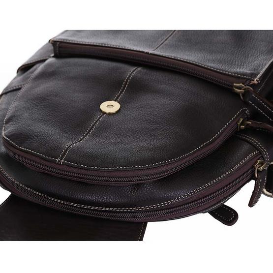 MOONLIGHT กระเป๋าเป้หนังแท้ ทำจากหนังวัวแท้ 100% นุ่ม ทน เท่ รุ่น Charlie สีน้ำตาลเข้ม