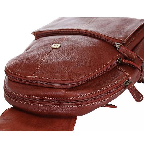 MOONLIGHT กระเป๋าเป้หนังแท้ ทำจากหนังวัวแท้ 100% นุ่ม ทน เท่ รุ่น Charlie สีน้ำตาลอ่อน