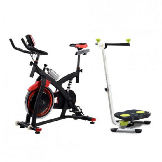 TV Direct เซต MAXX SPIN BIKE จักรยานสปินไบค์ สีดำแดง + TWIST AND SHAPE เครื่องออกกำลังกายระบบทวิส