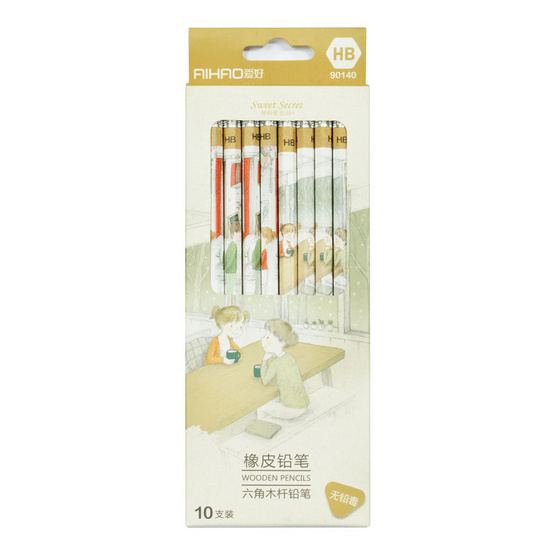 Aihao ดินสอไม้ HB ลายการ์ตูน Sweet Secret (10 แท่ง/กล่อง)