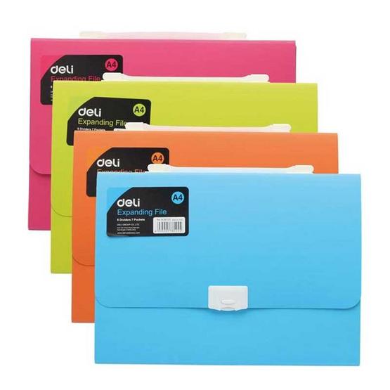 Deli กระเป๋าแฟ้มหีบเพลง 13 ช่อง A4 คละสี
