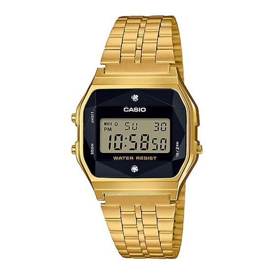 Casio Standard นาฬิกาข้อมือผู้หญิง/ผู้ชาย สายสแตนเลส รุ่น A159WGED-1DF (Made in JAPAN)