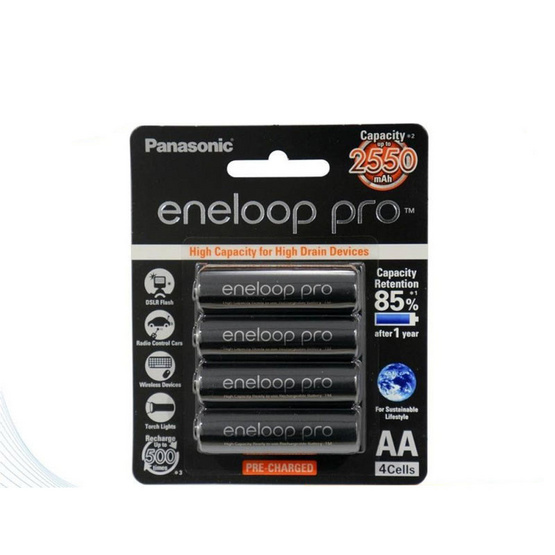 eneloop Pro 2550 mAh Rechargeable Battery AA x 4 - Black ถ่านชาร์จ 2550 มิลลิแอมป์ AAx4 ก้อน รุ่น BK-3HCCE/4BT