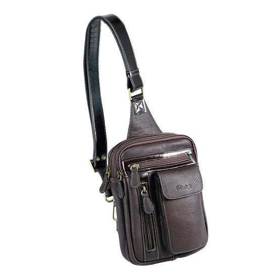 MOONLIGHT กระเป๋าหนังแท้ คาดหน้าอก รุ่น Synx สีน้ำตาลเข้ม