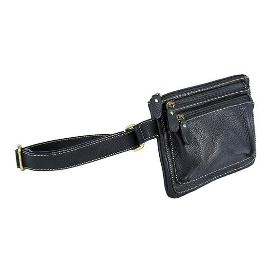 MOONLIGHT กระเป๋าคาดเอว คาดหน้าอก หนังแท้ รุ่น Flat สีดำ