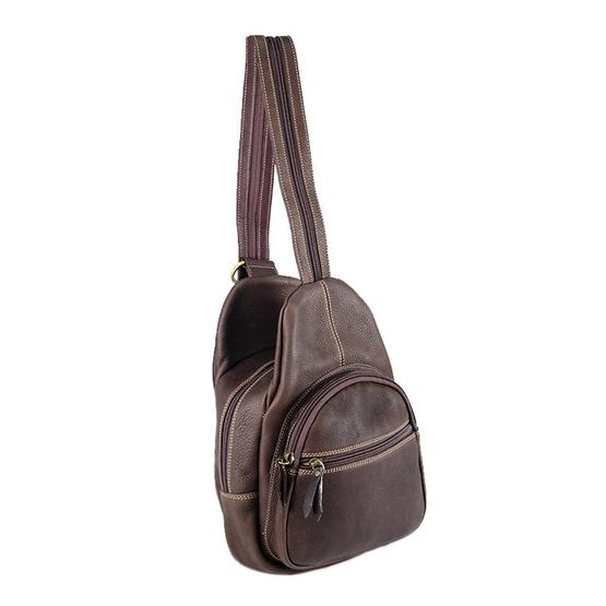 MOONLIGHT กระเป๋าเป้หนังแท้สะพายหลัง รุ่น Roundy สีน้ำตาลเข้ม
