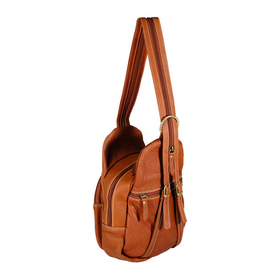 MOONLIGHT กระเป๋าเป้หนังแท้สะพายหลัง รุ่น Roundy สีน้ำตาลอ่อน