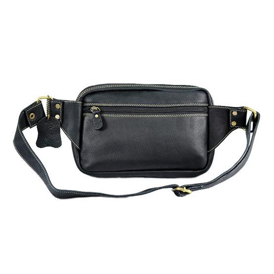 MOONLIGHT กระเป๋าคาดเอว คาดหน้าอก หนังแท้ รุ่น Touring สีดำ