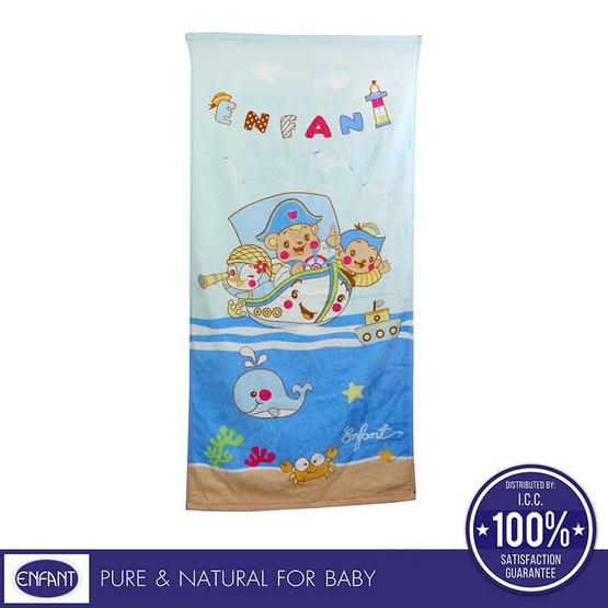 Enfant ผ้าขนหนู ขนาด 24x48 ลายหมีกัปตันเรือ สีฟ้า