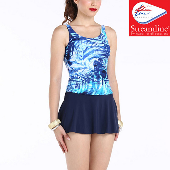 STREAMLINE ชุดว่ายน้ำสตรีทูพีช (เสื้อกล้าม + กระโปรงกางเกง) สีฟ้า