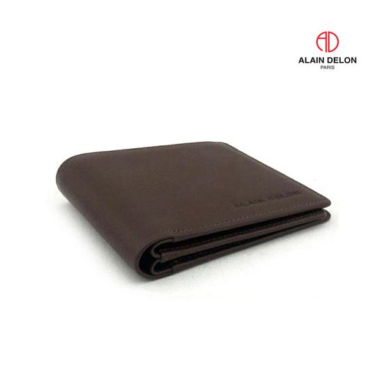 Alain Delon กระเป๋าธนบัตร หนังวัวแท้ 100% สีน้ำตาล