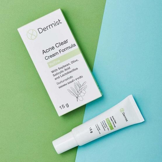 Dermist Acne Clear Cream Formula เดอร์มิสท์ ครีมแต้มสิว 15 g