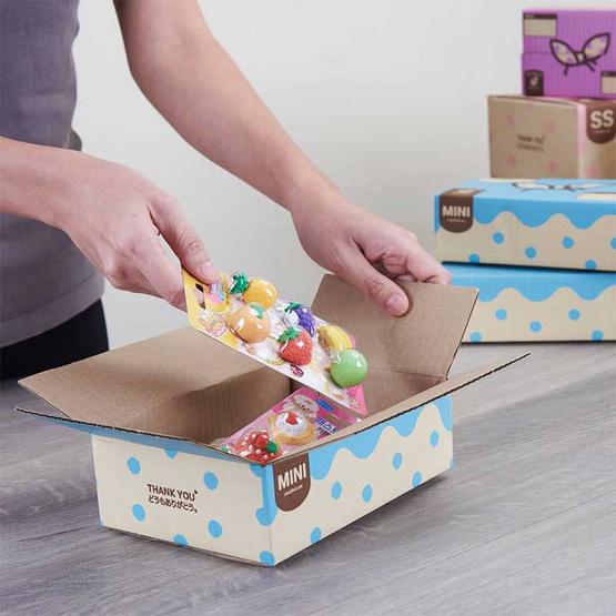 Bento กล่องไปรษณีย์ 14 x 20 x 6 ซม. Size Mini สีฟ้า (แพ็ค 20 ใบ)