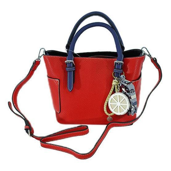 FQ&L กระเป๋าหนัง PU  สายยาวใช้สะพายข้าง สี แดง ( FAPAI-001-R9-OF )