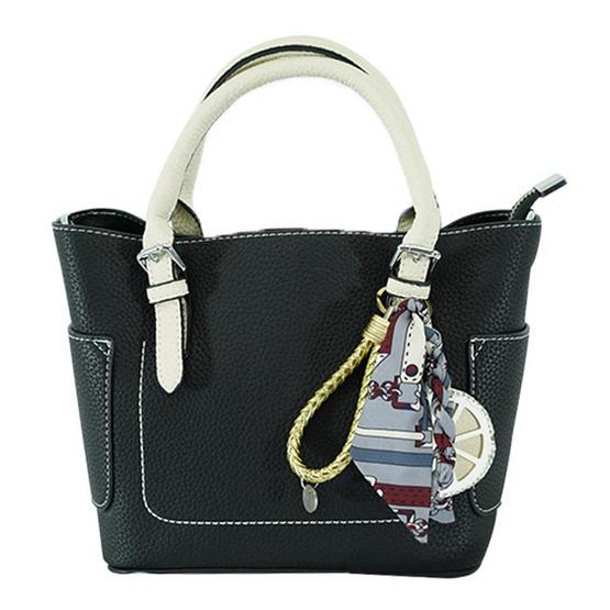 FQ&L กระเป๋าหนัง PU  สายยาวใช้สะพายข้าง สี ดำ ( FAPAI-001-W9-OF )