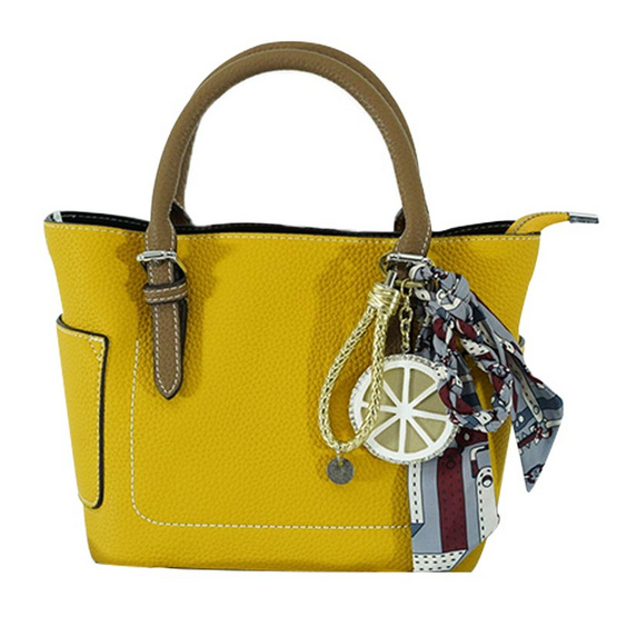FQ&L กระเป๋าหนัง PU  สายยาวใช้สะพายข้าง สี เหลือง ( FAPAI-001-Y9-OF )