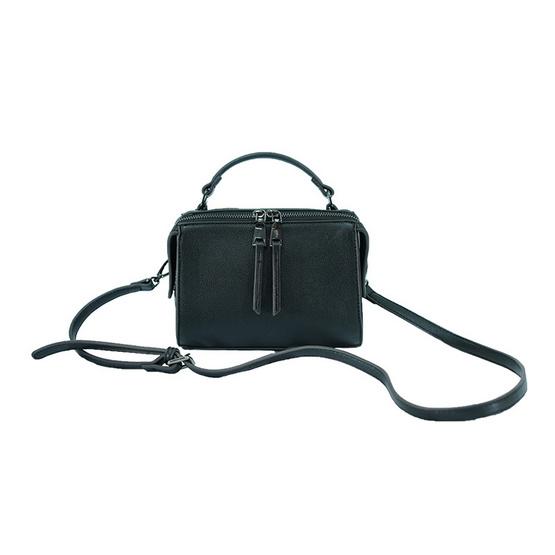 FQ&L กระเป๋าหนัง PU สายยาวสะพายข้าง สีดำ (FAPAH-001-W9-OF)