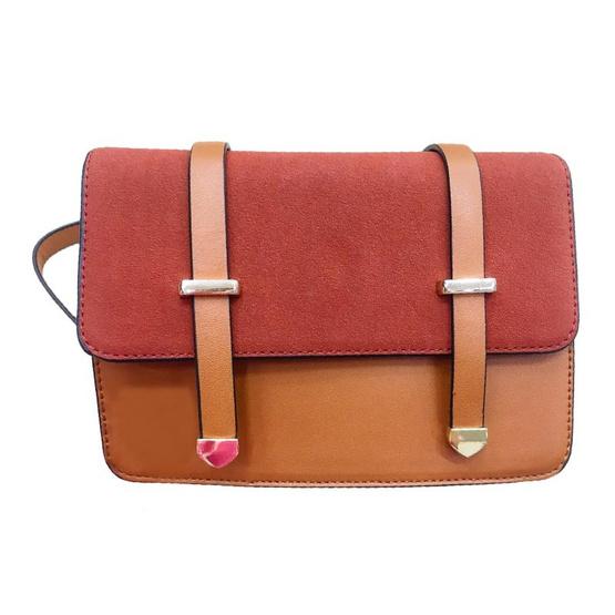 FQ&L กระเป๋าหนังกลับสายโซ่ ทรงแข็ง สีน้ำตาล (FAPAG-001-B6-OF)