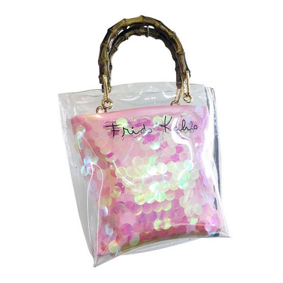 FQ&L  กระเป๋าพลาสติก เกร็ดวิบวับ หูจับไม้  ( FAPAH-011-R1-OF ) สี PINK