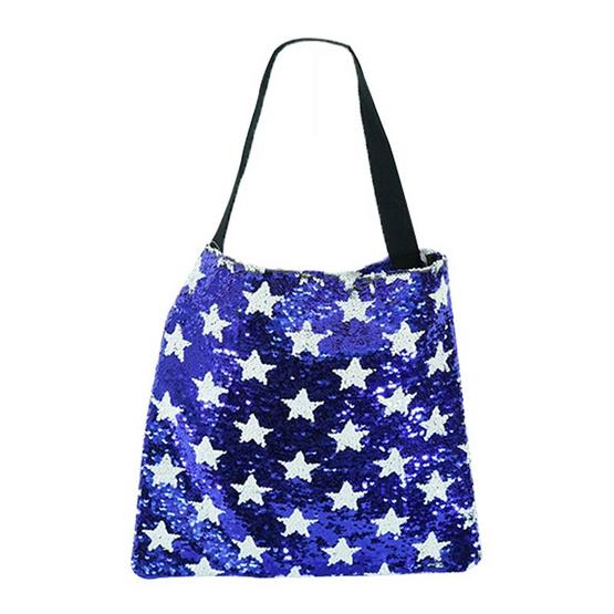 FQ&L  กระเป๋าเกร็ดวิบวับสายสะพายผ้า สลับสีได้ 2 สี   ( FAPA-010-S8-OF ) สีน้ำเงิน ขาว
