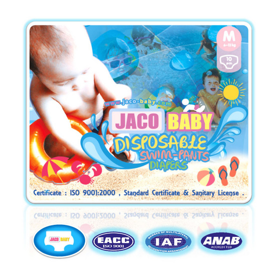 Jaco Baby ผ้าอ้อมสำเร็จรูปสำหรับว่ายน้ำ ขนาด M 3 ชิ้น (ยกลัง)