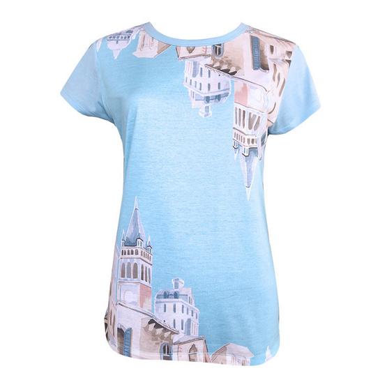 FQ&L  เสื้อยืดพิมพ์ลาย ( FLTAJ-004-S4-OF ) สีน้ำเงิน