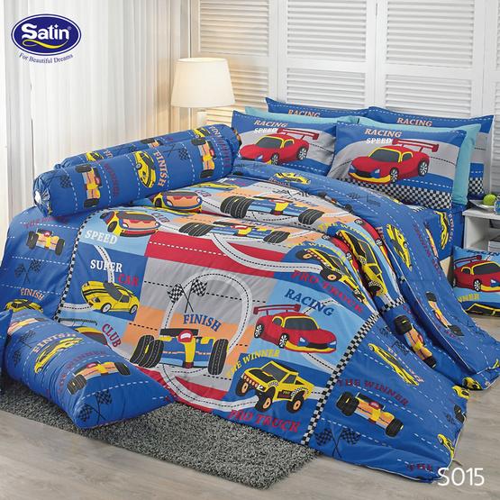 Satin ผ้านวม + ผ้าปูที่นอน 6 ฟุต 6 ชิ้น ลาย S015
