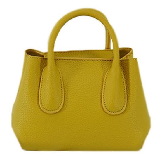 FQ&L กระเป๋าหนัง PU มีสายยาวสะพายข้าง 2 สาย สีมัสตาร์ด (FAPAF-004-Y8-OF)