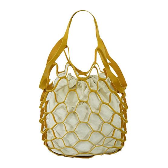 FQ&L กระเป๋าสุดเก๋ ถุงผ้าด้านใน สีเหลือง (FAPAG-006-Y0-OF)