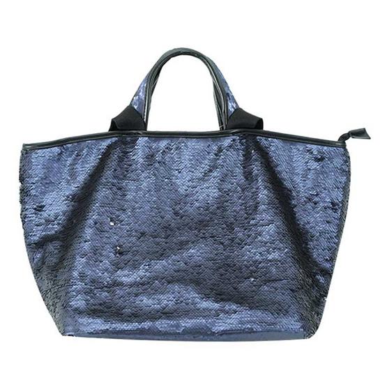 FQ&L กระเป๋าสะพายวิบวับ เกร็ดพลิกไปมาได้ถึง 2 สี ใบใหญ่ สีน้ำเงิน (FAPAF-009-S9-OF)