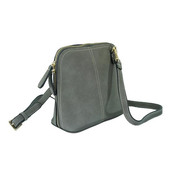 FQ&L กระเป๋าหนัง PU มีสายยาวสะพายข้าง สีเทา (FAPAC-008-W8-OF)