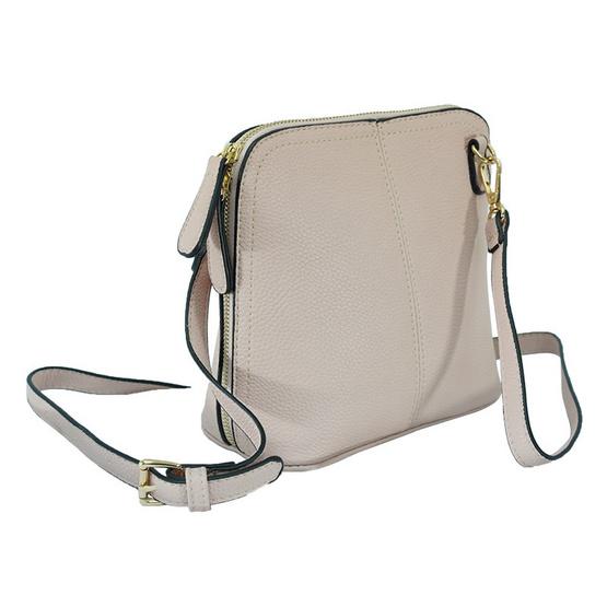 FQ&L กระเป๋าหนัง PU มีสายยาวสะพายข้าง สีมพู (FAPAC-008-R4-OF)