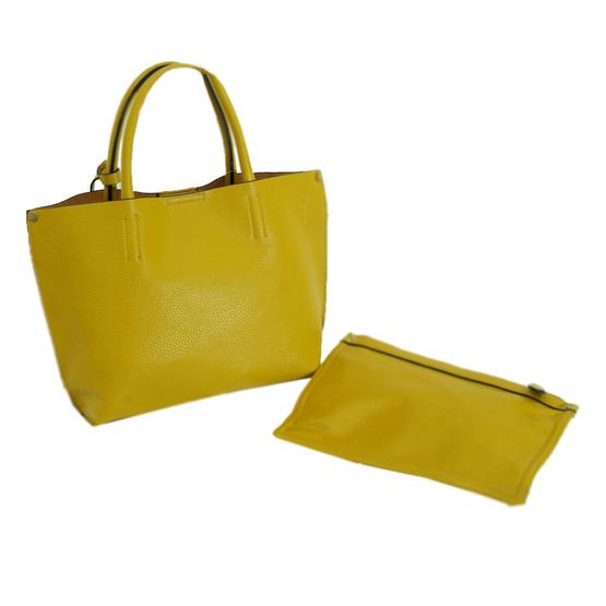 FQ&L กระเป๋าหนัง PU สายยาวสะพายข้าง ใบใหญ่ สีเหลือง (FAPAF-001-Y5-OF)