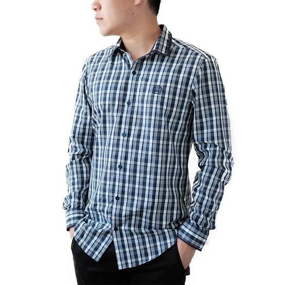 FQ&L  เสื้อเชิ้ตผู้ชาย ( MMFLJ-053-S8) สี NAVY BLUE