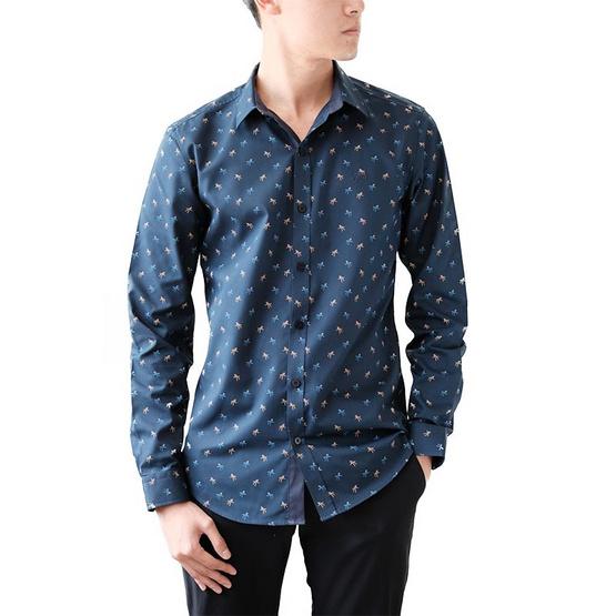 FQ&L  เสื้อเชิ้ตผู้ชาย ( MMFLJ-056-S9) สี DARK NAVY