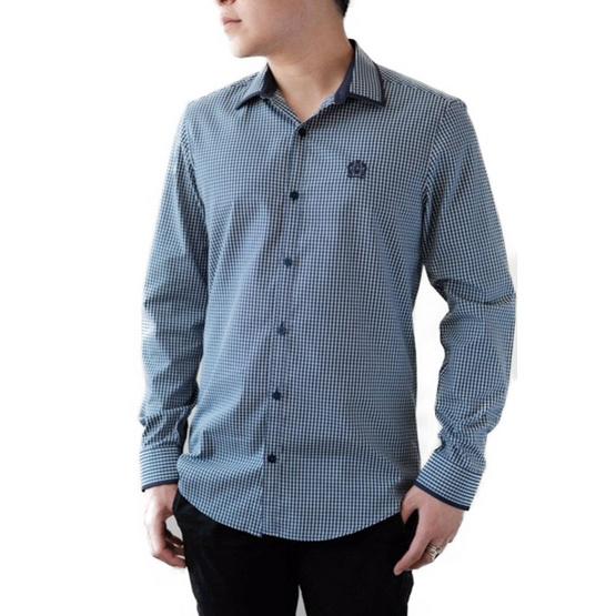 FQ&L  เสื้อเชิ้ตผู้ชาย ( MMFLJ-073-S8) สี NAVY BLUE