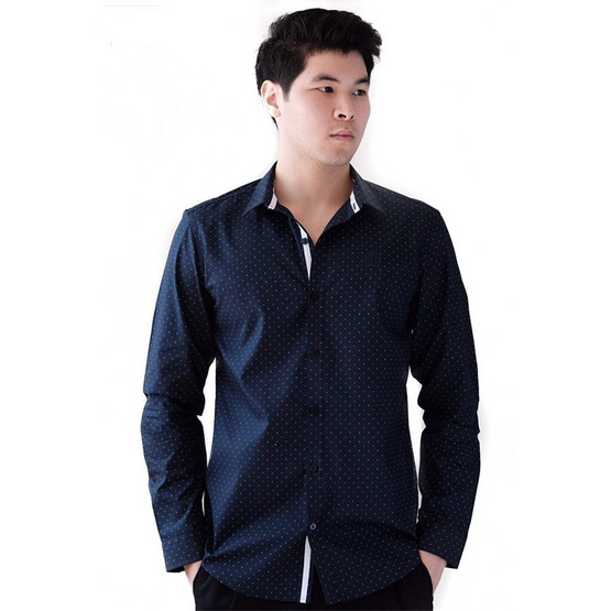 FQ&L  เสื้อเชิ้ตผู้ชาย ( MMFLJ-074-S7) สี NAVY BLUE