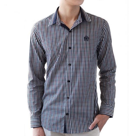 FQ&L  เสื้อเชิ้ตผู้ชาย ( MMFLJ-088-S8) สี NAVY BLUE