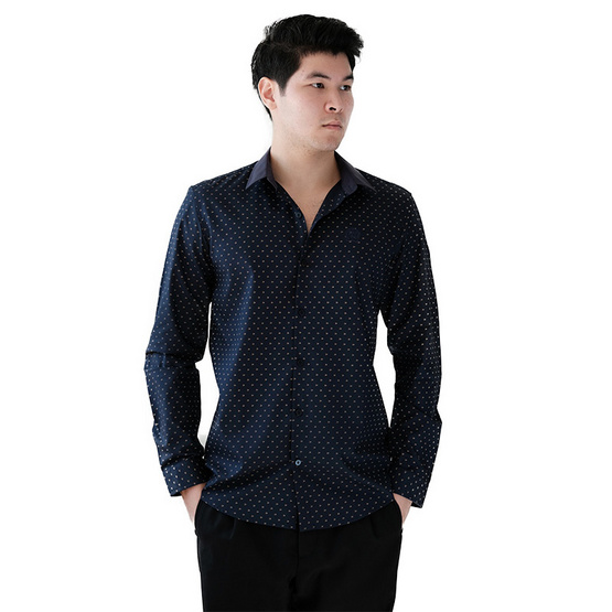 FQ&L  เสื้อเชิ้ตผู้ชาย ( MMFLJ-092-S8) สี NAVY BLUE