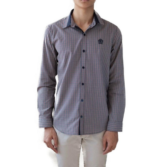 FQ&L  เสื้อเชิ้ตผู้ชาย ( MMFLJ-103-S8) สี NAVY BLUE