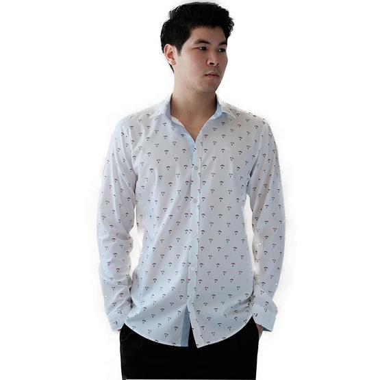 FQ&L  เสื้อเชิ้ตผู้ชาย ( MMFLJ-107-W0) สี WHITE
