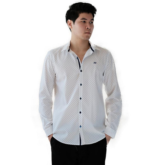 FQ&L  เสื้อเชิ้ตผู้ชาย ( MMFLJ-116-S8) สีขาวลายพิมพ์สีกรม