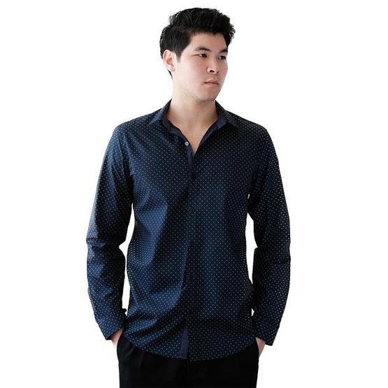 FQ&L  เสื้อเชิ้ตผู้ชาย ( MMFLJ-121-S8) สี NAVY BLUE