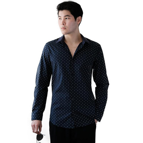 FQ&L  เสื้อเชิ้ตผู้ชาย ( MMFLJ-122-S8) สี NAVY BLUE