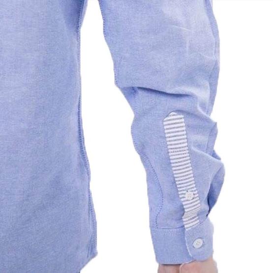 Quattro เสื้อเชิ้ตแขนยาว Bow Blue stripe