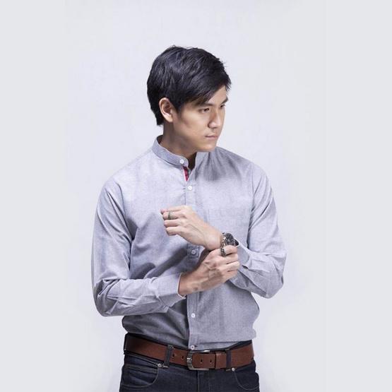 Quattro เสื้อเชิ้ตแขนยาว ChineseCollarGreyRed