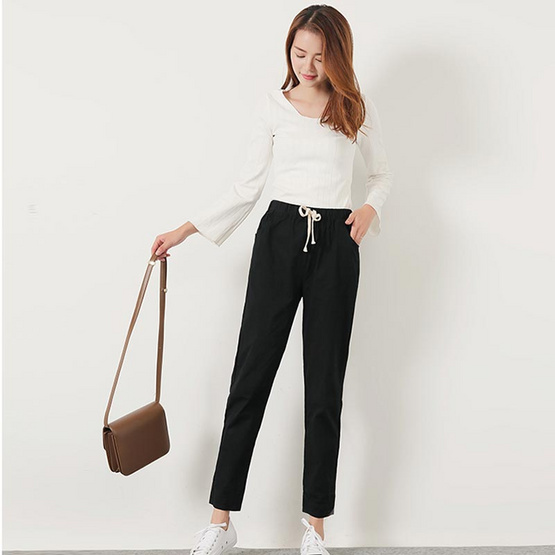 กางเกงขายาว ผ้า Cotton ลินิน รุ่น 1001 สีดำ